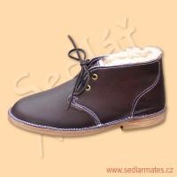 Kožené kotníkové boty s beránkem (model č. 4036)